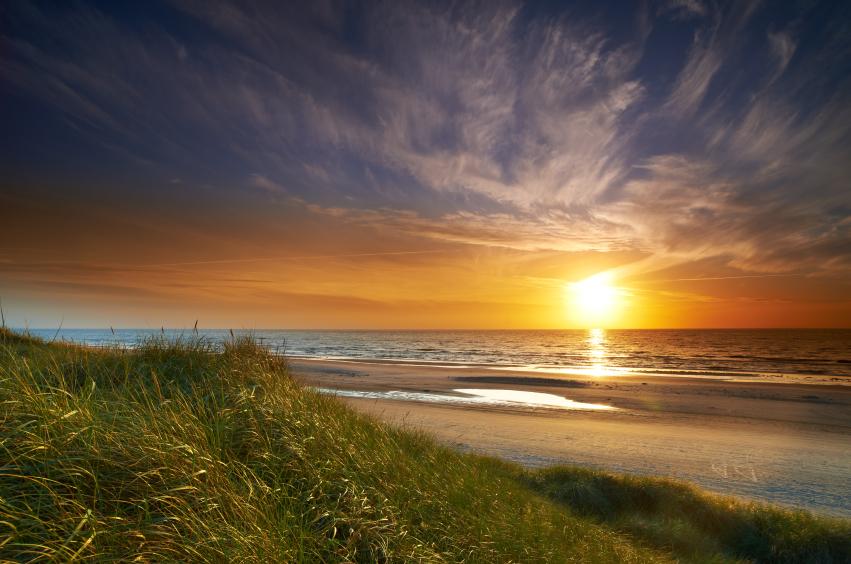 Scenic shoreline sunset