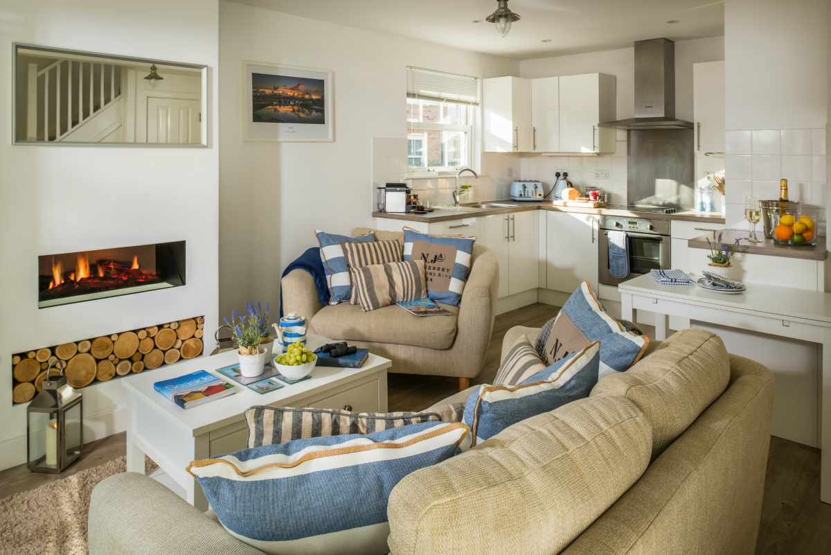 Beach Boutique cosy open plan living room
