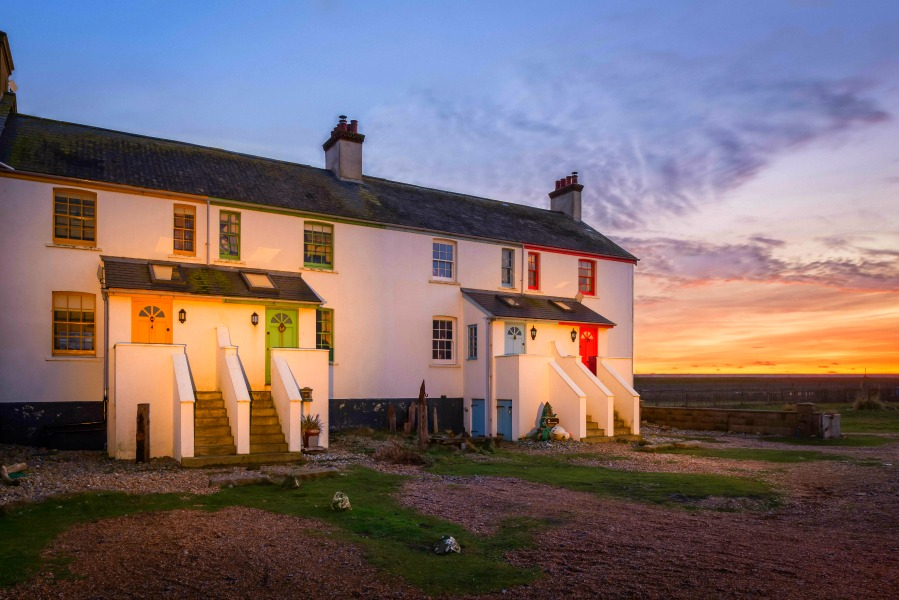 Coastguards Cottages at dusk