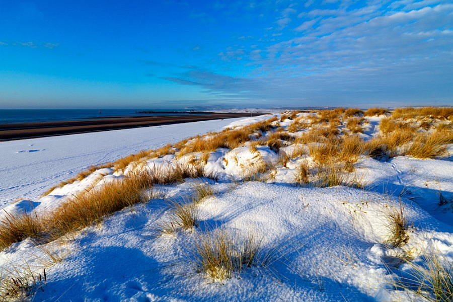 camber sands beach snow