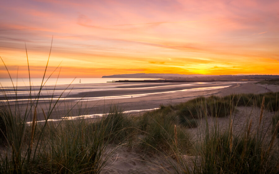 beautiful sunset over camber sands
