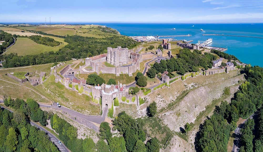 aerial view of dover castle, near Camber Sands