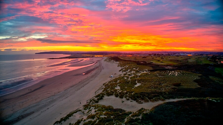 fiery sunset camber sands autumn