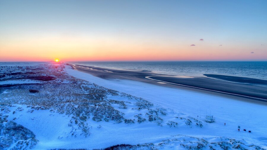 winter sunset over camber sands
