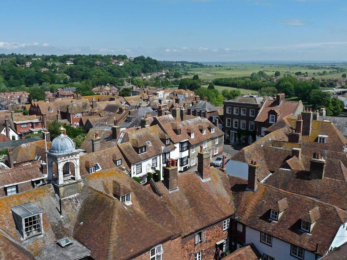Aerial view of Rye in springtime