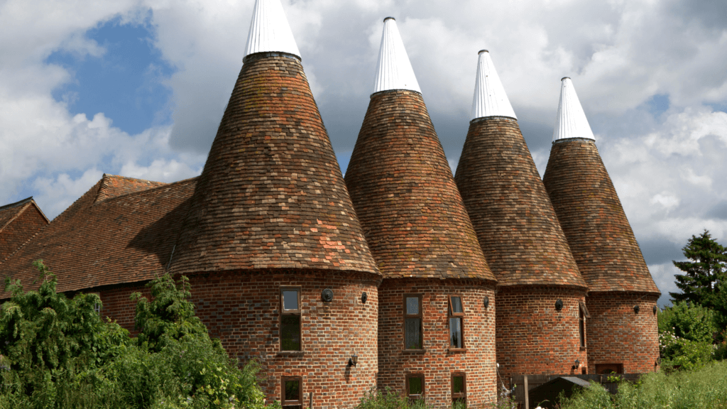 Oast houses dot the landscape of the High Weald in testament to its hops and brewing industrial past